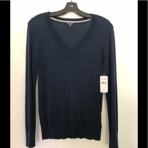 Splendid Sheer Navy V Neck Sweater. New with tags